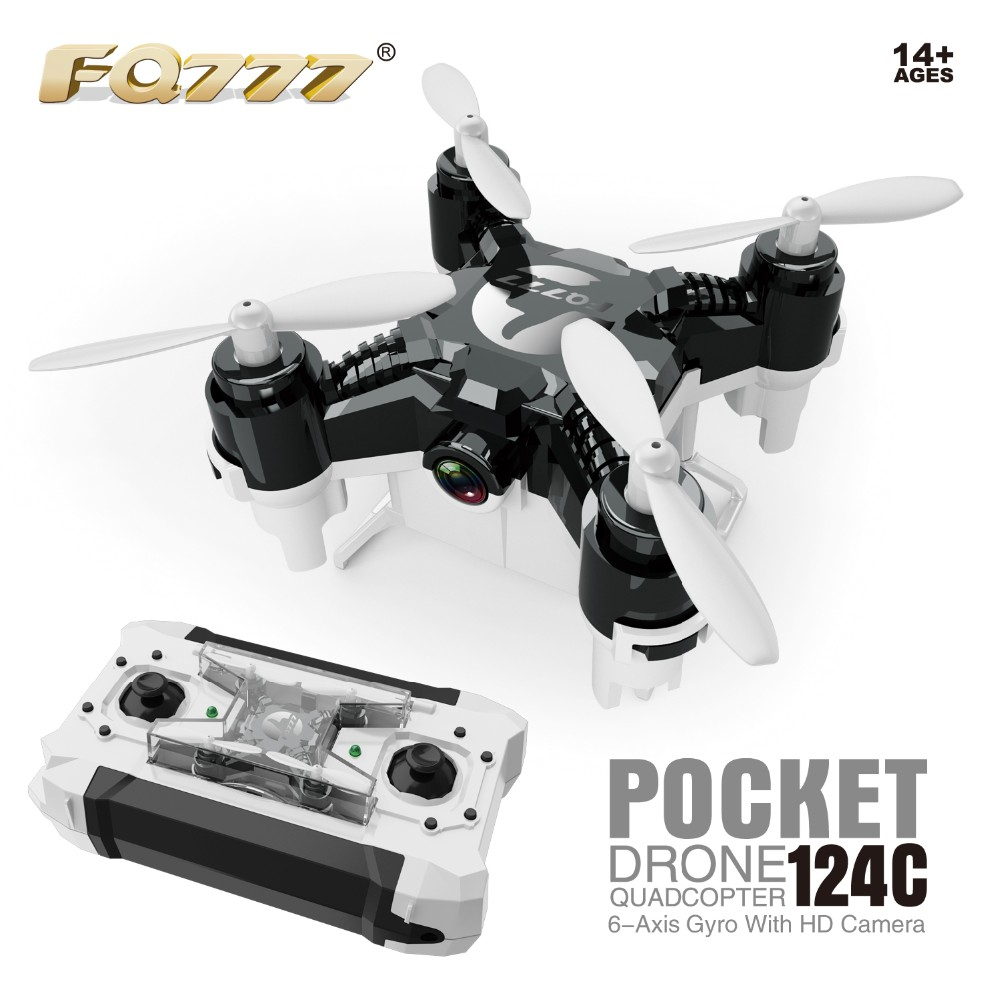 FQ777-124C MINI Drone Dual Mode With 2.0MP HD Camera With Switchable Controller RC Drone One Press Home 360 Degrees Rollover RTF