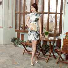 Novelty Chinese Style Lady Real Silk Cheongsam Summer New Print Qipao Sexy Mini Slim Dress Floral Size S M L XL XXL Z0038