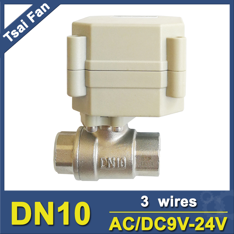 Tsai Fan Motor Control Valve AC/DC9V-24V 3 Wires TF8-S2-A Metal Gear 2 Port BSP/NPT 3/8'' Stainless Steel Electric Valve CE tf15 s2 b dn15 stainless steel normal close open valve 2 5 wires bsp npt 1 2 ac dc9v 24v electric water valve