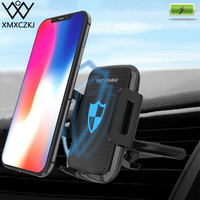 XMXCZKJ Qi Car Mount Cell Mobile Smart Phone Wireless Charging Holder Support For iPhone X 8 XR Clip Sucker Fast Charger Stand