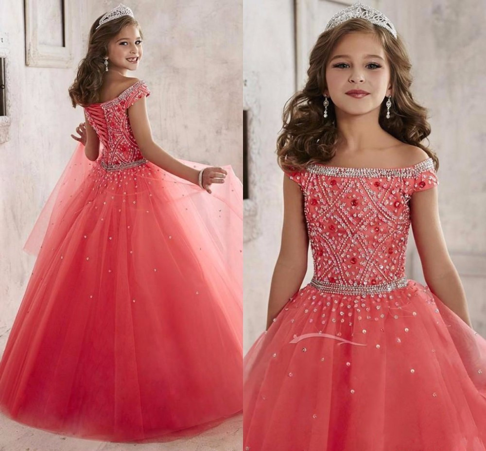 2017 Long First Communion Dress for Girls Tulle Rhinestones Crystals Coral Kids Prom Ball Gown Flower Girl Dresses Custom Made fancy pink little girls dress long flower girl dress kids ball gown with sash first communion dresses for girls