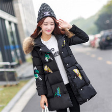 Women Parka down Jacket Women Winter thick Coat High-quality Raccoon fur hooded down jackets female butterfly embroidery coats
