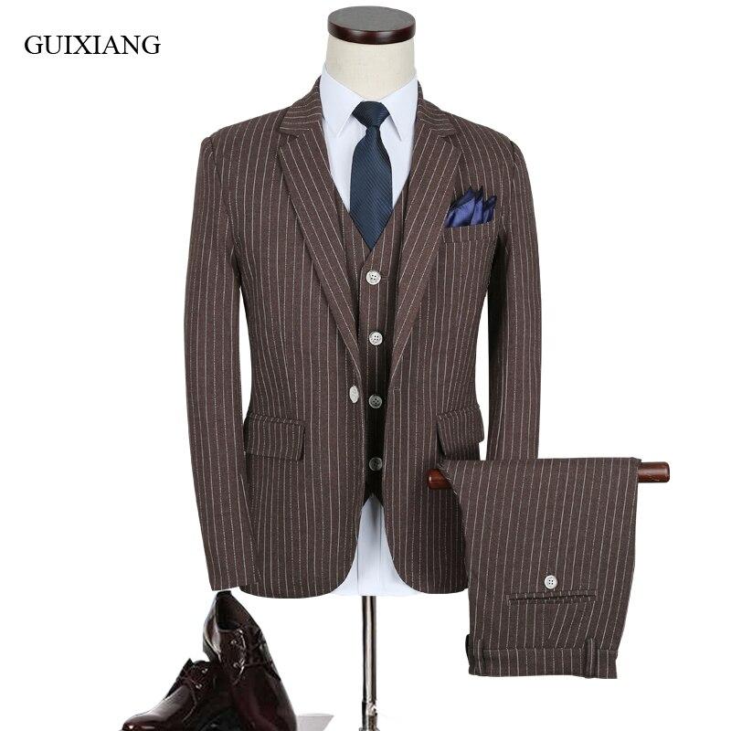 Nouveauté style hommes haut de gamme boutique costume d'affaires décontracté style formel robe de mariée trois pièces rayure costume grande taille M-5XL