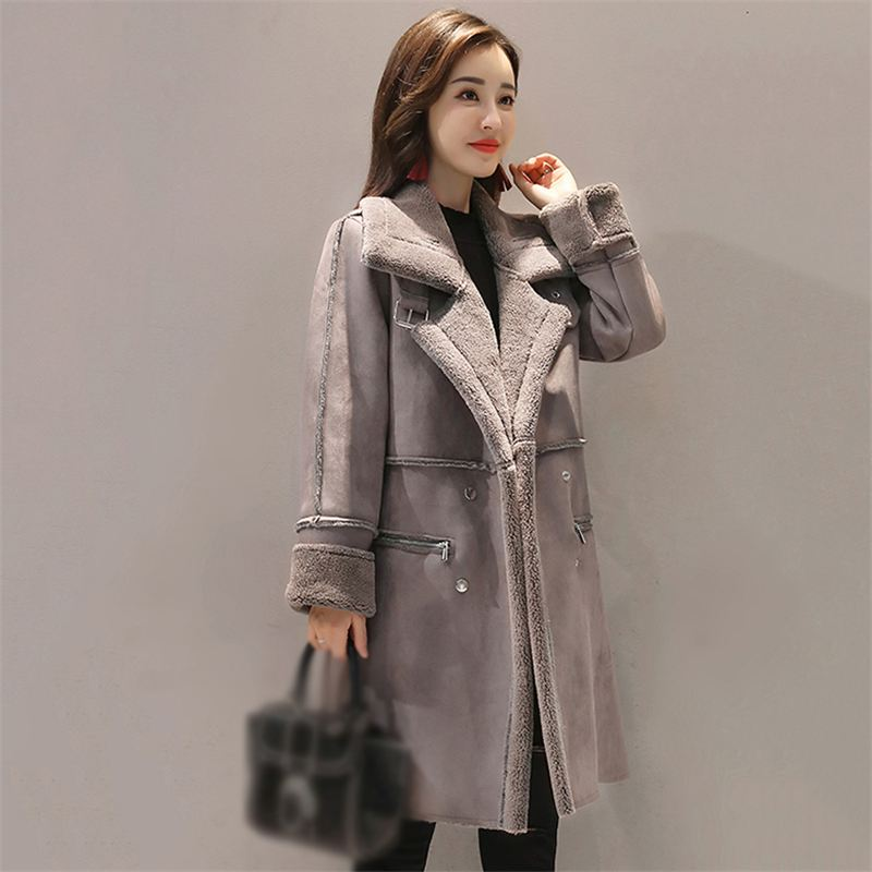 New 2018 Winter Women Lambswool Suede Coats Jacket Thicken Coat Female Casual Warm Long Sleeve   Parka   Jacket Long Overcoat Q123