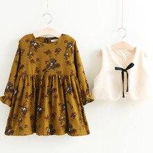 Everweekend Kids Girls Print Flowers Princess Warm Tutu Ruffles Dress and Bow Clothing 2pcs Baby Dress Western Floral Dress