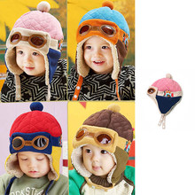 2018 New Fashion Winter Unisex Children Pilot Cap Cute Novel Cartoon Warm Cotton Baby Hats For Kids Girls With Artificial Wool(China)