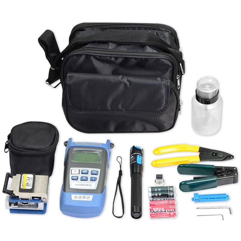 FTTH Werkzeug Kit Fibra Optica mit FC-6S Fiber Optic Cleaver und Laser VFL Power Meter 1 mw Visual Fault Locator fibre Draht Stripper