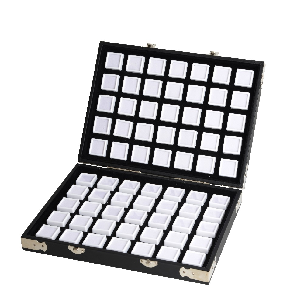 Image 2 - High Quality Black Leather Gemstone Travel Box Diamond Storage Case Jewelry Holder 2.8cm 70pcs,4cm 48pcs Inside Gem Box Protable-in Jewelry Packaging & Display from Jewelry & Accessories