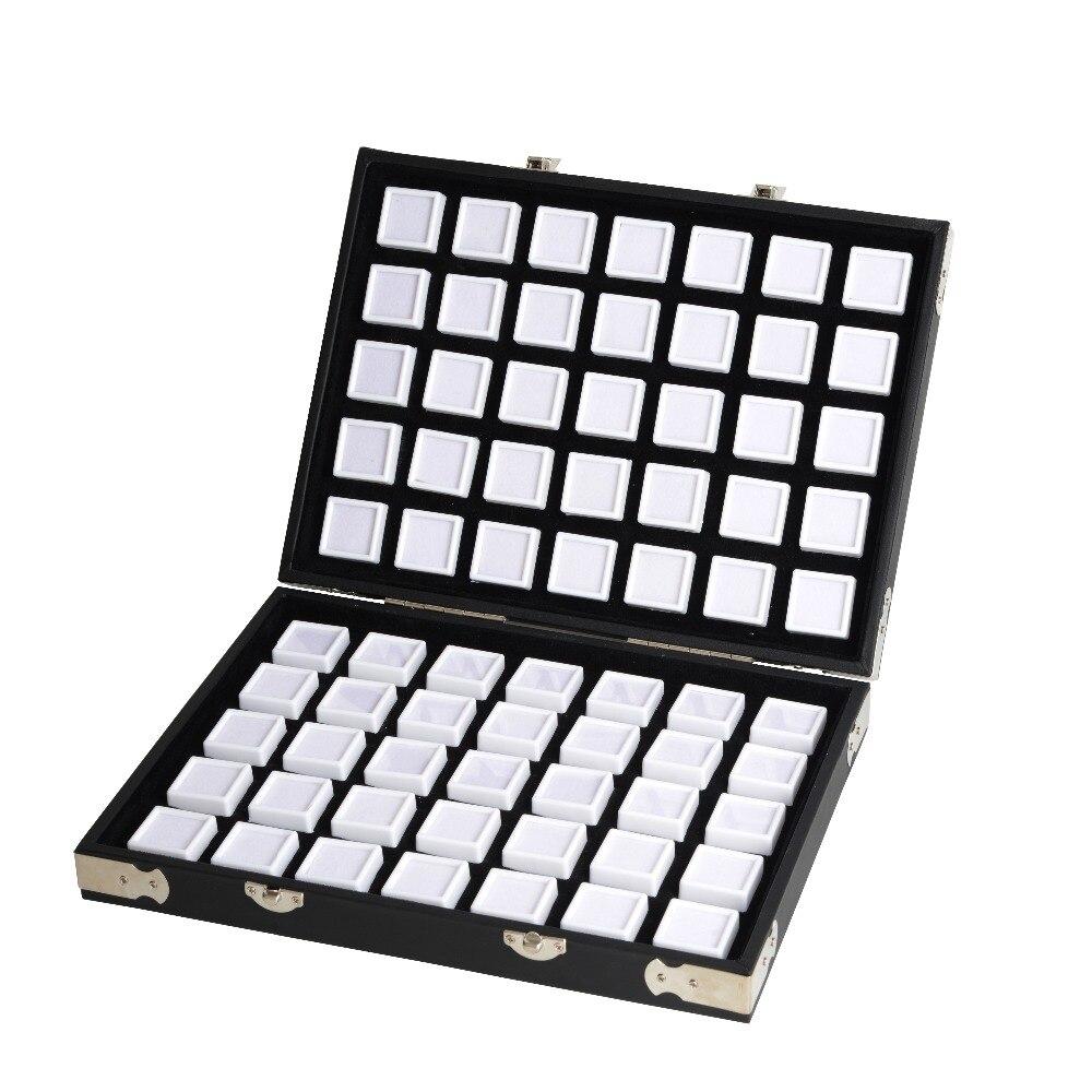 Wysokiej jakości czarny skórzany kamień pudełko na podróż diament etui do przechowywania stojak na biżuterię 2.8cm 70 sztuk, 4cm 48 sztuk wewnątrz Gem Box przenośny w Pakowanie i ekspozycja biżuterii od Biżuteria i akcesoria na  Grupa 2