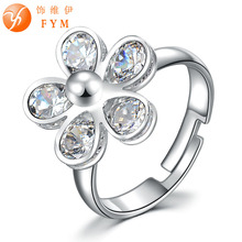 Luxury Plant Flower Hollow Out Ring Rose Gold Color Zircon Crystal Fashion Women Cocktail Finger Rings for Party Gift Wedding new classic luxury fashion ring 4 valve flower gold color crystal adjusted ring women cz diamond finger rings for party wedding