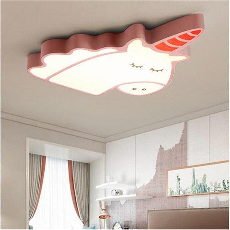 Lustre créatif licorne plafond moderne à LEDs pour chambre enfants chambre enfant maison Dec Surface monté plafond lustre