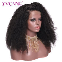 YVONNE Afro Kinky Curly Lace Front Human Hair Wigs For Black Women Brazilian Virgin Hair Wig Natural Color(China)