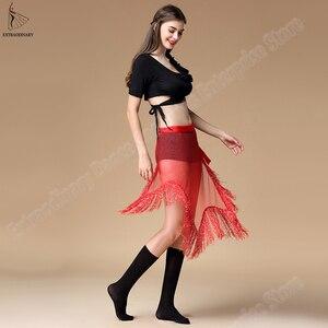 Image 3 - Yeni kadın oryantal dans kemer giyim düzensiz sıkı uzun püskül pullu Latin dans Bellydancing cıngıllı şal bel 3 renkler