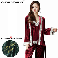 CAVME Custom Sexy Lace Pajamas Set Winter Velour Sleepwear Sexy Women 3 Pces Sets Full Sleeve Length Nightwear Home Clothes