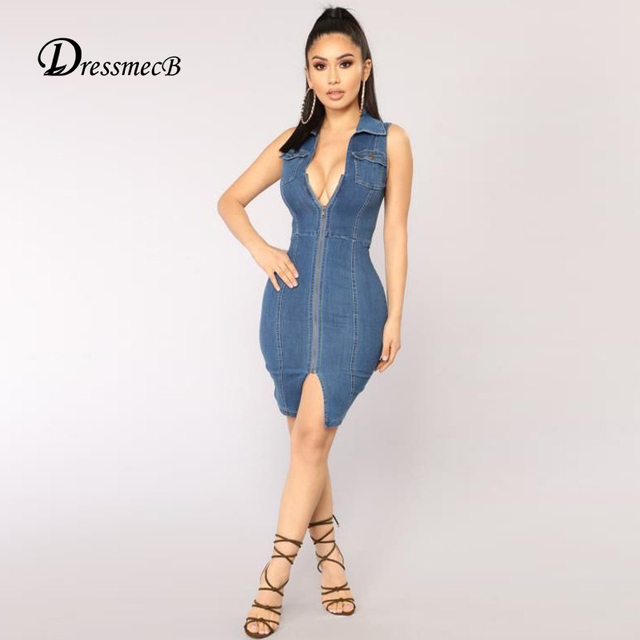 Dress V Denim Sexy Women 2018 Summer New Design Dressmecb qZXw7xBAx