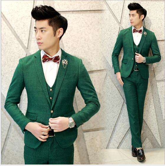 Verde A Cuadros Chaqueta de Esmoquin Trajes de Boda De Borgoña de Los Hombres Ropa de Fiesta Hombres Traje A Cuadros Británico Slim Fit (Jacket + Pant + Vest)