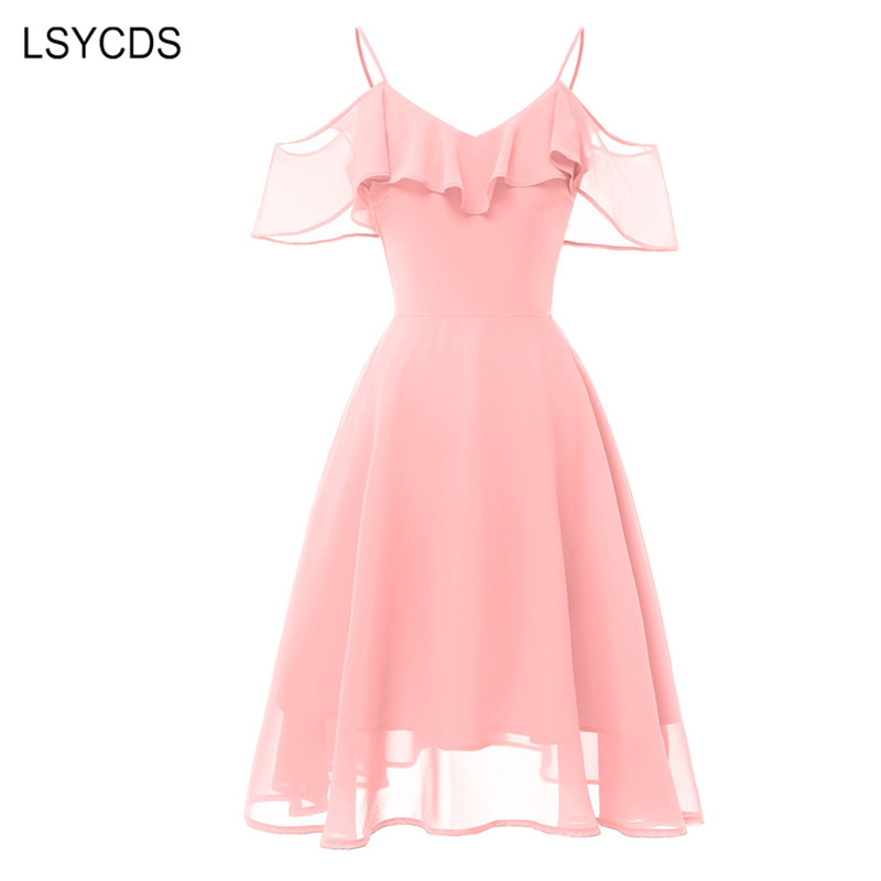 knee length casual pink dress