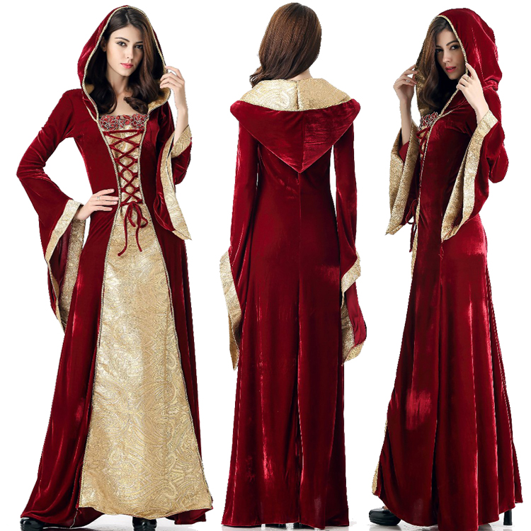 Adult Women Halloween Medieval Queen Princess Royal Palace Costume Robe Luxury Renaissance Hooded Gown Maxi Robe