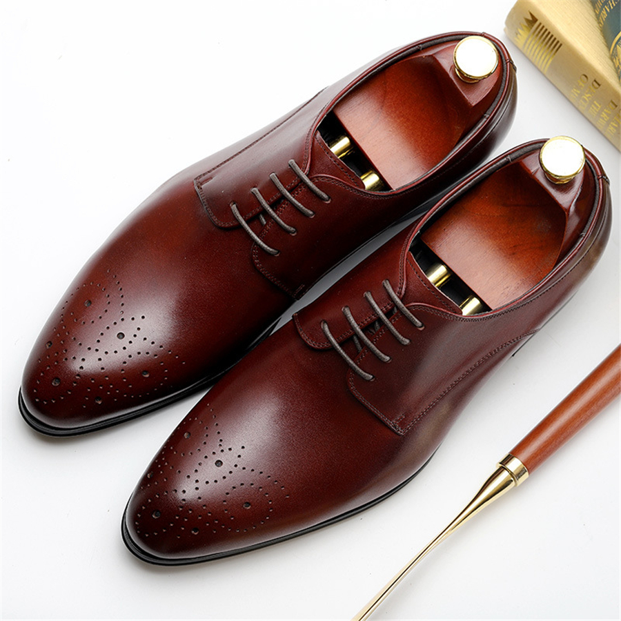 Genuine cow leather brogue business Wedding shoes men casual flats shoes vintage handmade sneaker oxford shoes for men black red 2016 classic vintage mens heighten shoes genuine leather handmade comfortable outdoor shoes men flats for leisure business e1 page 6