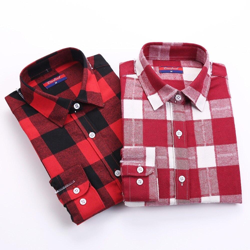New Woollen Women Tops Long Sleeve Plaid Shirts For Women Cotton Pointed Collar Blusa