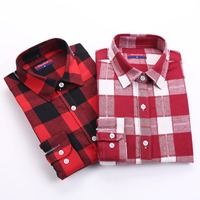 New Woollen Women Tops Long Sleeve Plaid Shirts For Women Cotton Pointed Collar Blusa Fluffy Plaid