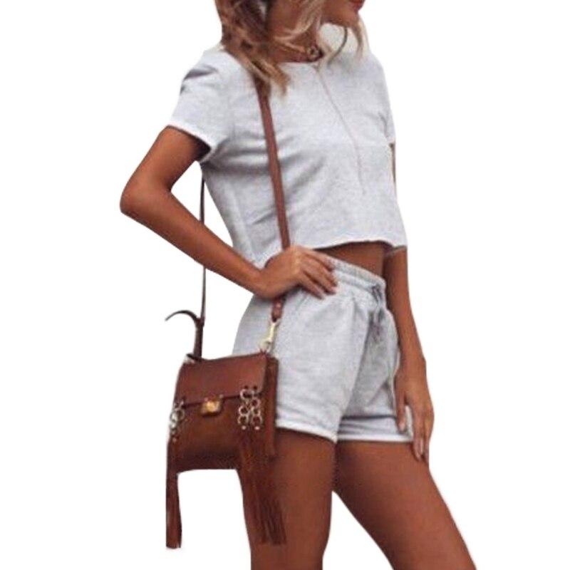 Из 2 предметов женщины Activewear комплект пупка короткие женские рукав укороченный Топ Спортивная рубашка и шорты с эластичным поясом