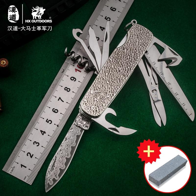 HX OUTDOORS 6 stílusú túlélő kés, többfunkciós összecsukható kés, kültéri önvédelmi kés, gyűjtő kés