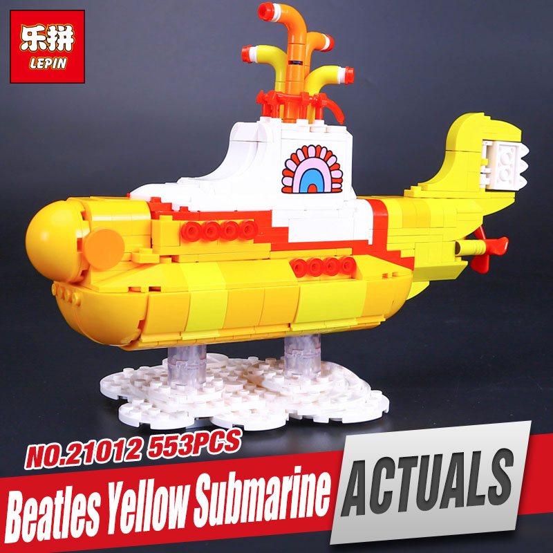 NEW Lepin 21012 553Pcs The beatles yellow submarine Set 21306 Educational Building Blocks Bricks Children Toys Gifts 21306 lepin 21012 builder the beatles yellow submarine with 21306 building blocks bricks policeman toys children educational gift toys