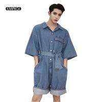 Men Streetwear Fashion Hip Hop Casual Loose Short Sleeve Overalls Denim Cargo Pant Male Women Tooling Jumpsuit Jeans Trouser