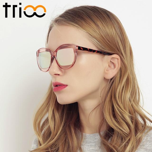 TRIOO Gelée Rose Oculos Ovale De Luxe Marque Designer lunettes de Soleil  Femmes Miroir Couleur Lentille 5f690358721f