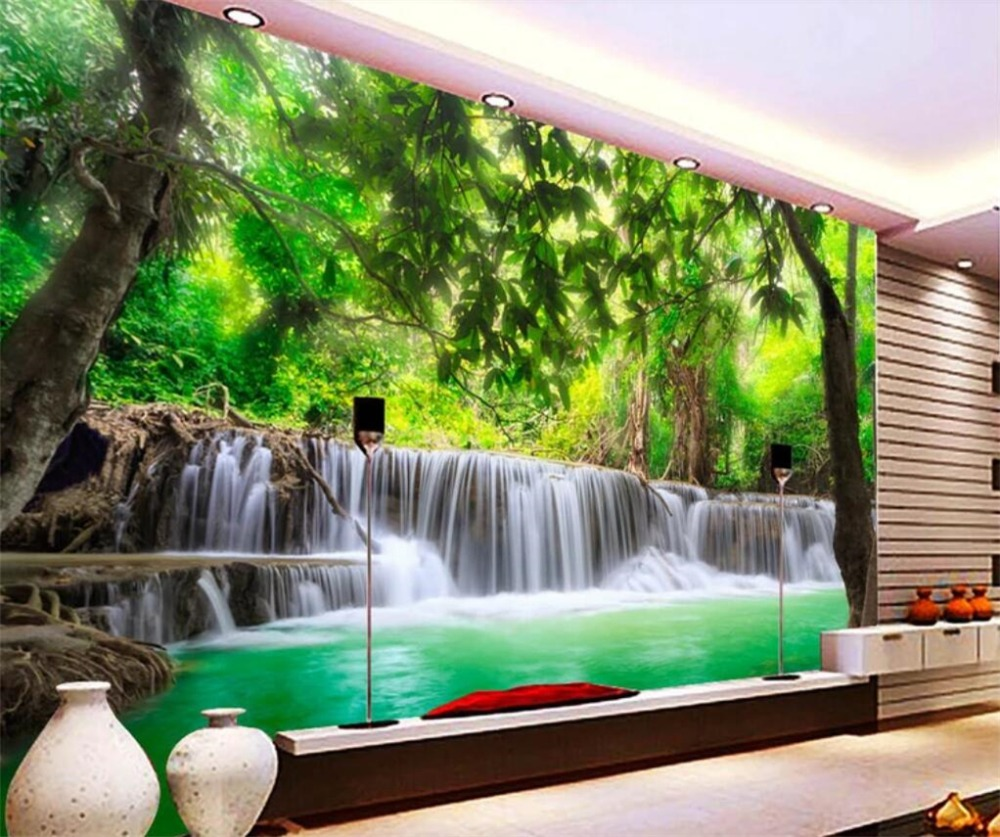 US $8 4 OFF Beibehang Foto Kustom Wallpaper 3D Mural Hutan Sungai Air Terjun Gambar Perhiasan 3D Ruang Tamu Wallpaper Baru Papel De Parede 3d Wall