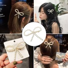 Korea Fashion Imitiation Pearl Hair Clips for Women Girls Hollow Bowknot Shape Hairpin Hair Accessories Hair Styling Tools