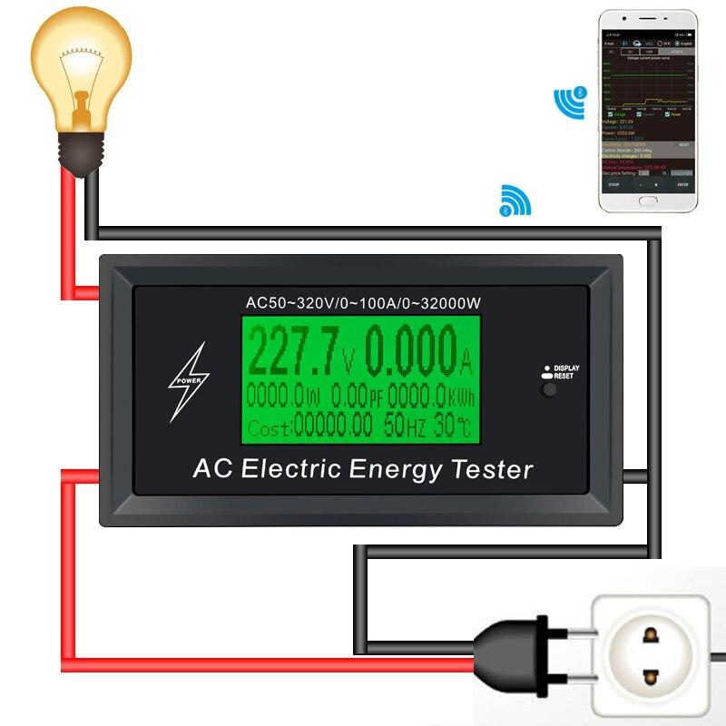 AC Meter 100A Digitale di Tensione indicatore di Alimentazione del telefono app Energia Voltmetro Amperometro corrente Ampere Volt wattmetro tester detector