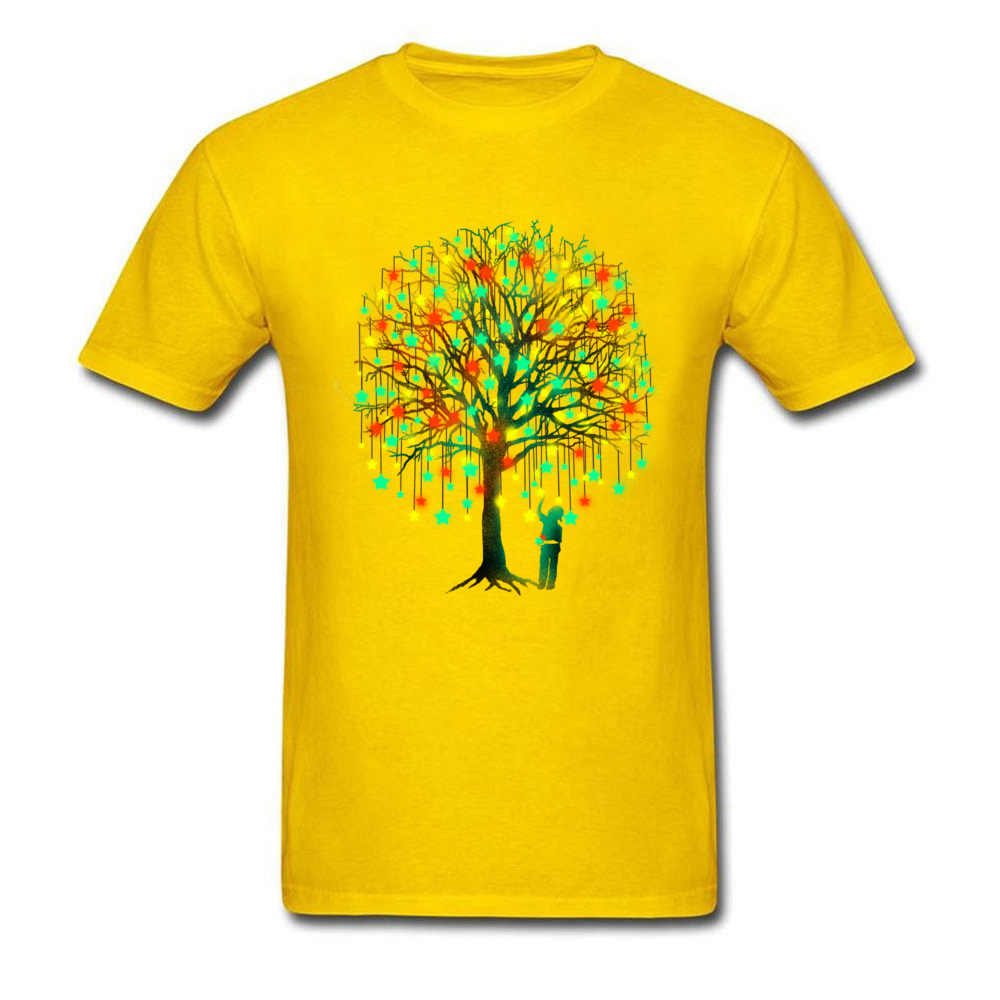 Camiseta brillante para hombre Picking estrellas árbol mágico camisetas Hunter marca ocio primavera verano Regular corto Polonia d ropa camisa