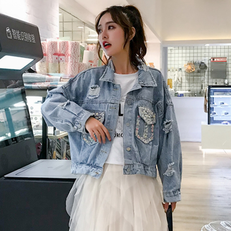 Fashion Beading Sequins Pocket Women Denim   Jacket   2019 New Streetwear Korean Short Frayed Holes Jeans Coat Spring   Basic   Outwear