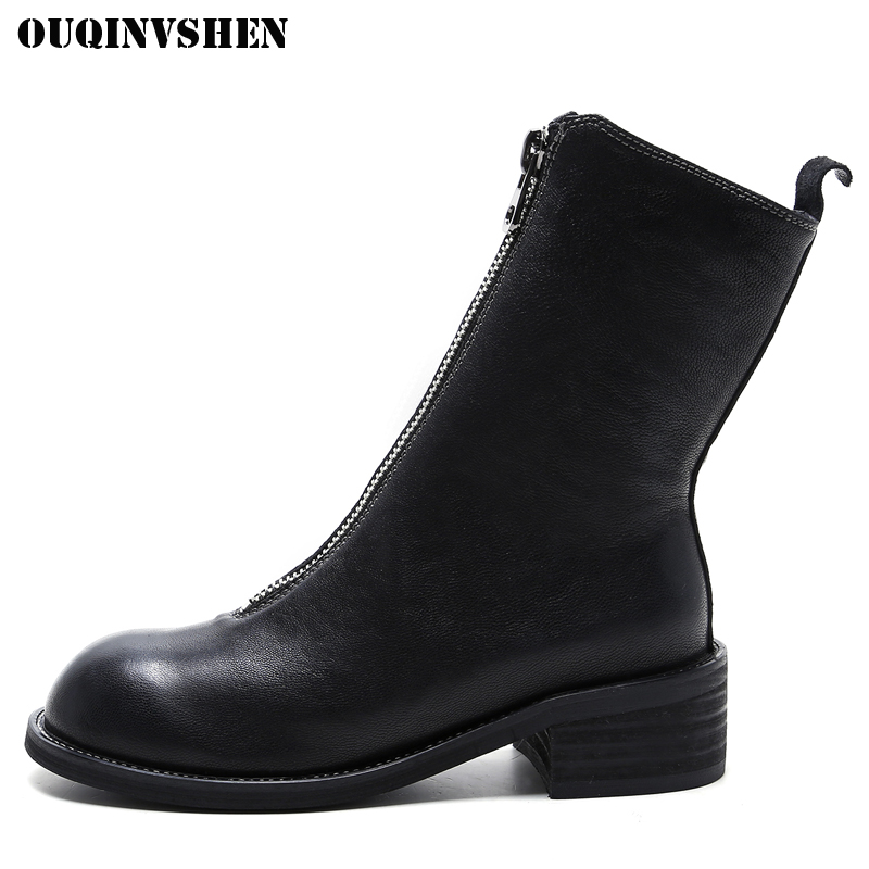 OUQINVSHEN Round Toe Square heel Women Boots Casual Fashion Ladies Mid Calf Mid Heel Boots 2017 Winter New Zipper Women's Boots 2018 new arrival fashion winter shoe genuine leather pointed toe high heel handmade party runway zipper women mid calf boots l11