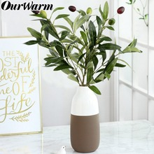 OurWarm Artificial Green Plant Olive Branch Fake Silk Leaves Fruits Home Decor Wedding Party Table Decoration Vase
