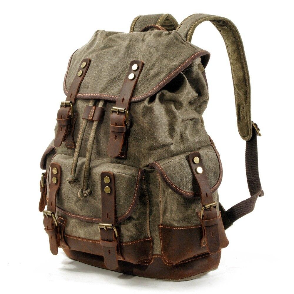 M272 винтажные холщовые кожаные рюкзаки для мужчин, рюкзаки для ноутбука, водонепроницаемый рюкзак из парусины, большой вощеный альпинистский дорожный рюкзак - 2