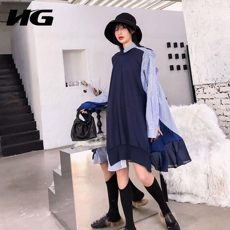 [HG] False Two Pieces Casual Women 2019 Spring Summer Korea Fashion Asymmetrical Full Sleeve Knee-length Casual Dress WBB1153