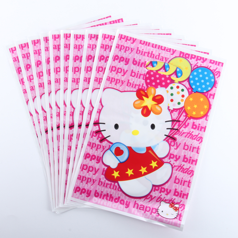 20pcs/lot Hello kitty Theme Party Gift Bag Party Decoration Plastic Candy Bag Loot Bag For Kids Birthday/Festival Party Supplies