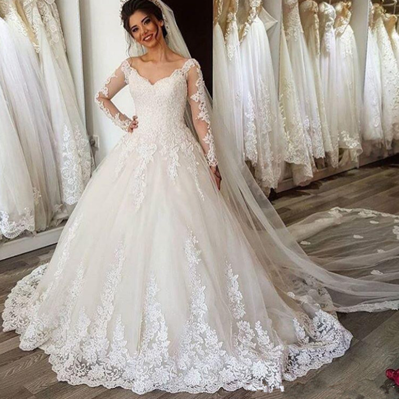 Sexy Lace Applique Long Sleeve V-neck A-line Wedding Dress Lace Up Wedding Gown White Ivory Princess Bride Dresses
