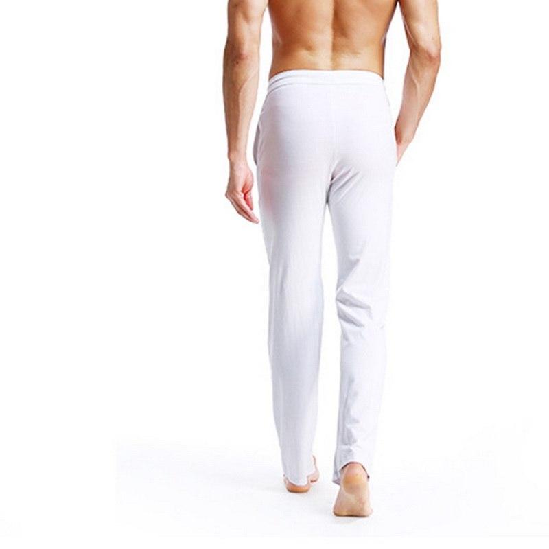 Lasperal Solid Color Thin Long Pants Slim Fit Straight Men S Cotton