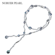 hot deal buy nobuer baroque necklace with real natural freshwater pearls necklace pendants women fine jewelry silver 925 chains necklaces