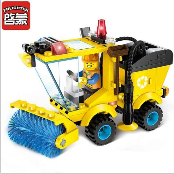 Christmas Construction City Road Sweeper Blocks Toys for Children Kids Assembled Model Building Kits Blocks Toys Educational