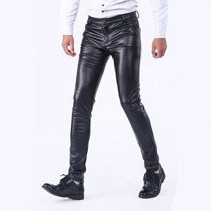 Image 3 - Idopy pantalon en similicuir, coupe cintrée pour homme, jean extensible et confortable, solide, en similicuir, coupe cintrée, poches