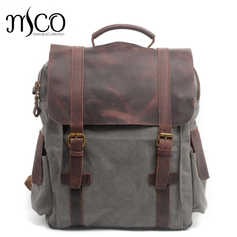 Men Casual Canvas Backpacks Vintage School Bags Large Capacity Travel Bag Women Mochila Leather Laptop Backpack Rucksack