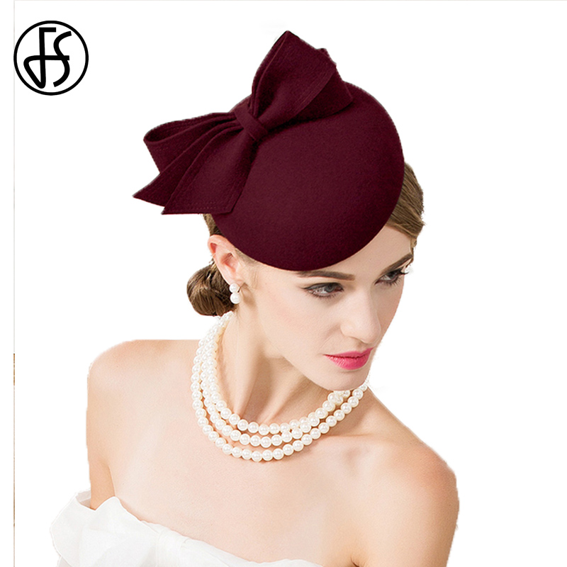851c5929c Skup Tanie FS Fascinator For Women Elegant Black Wool Felt Wedding Pillbox  Hat Winter Bowknot Fedoras Lady Cocktail Hats Party Church Derby Ceny.