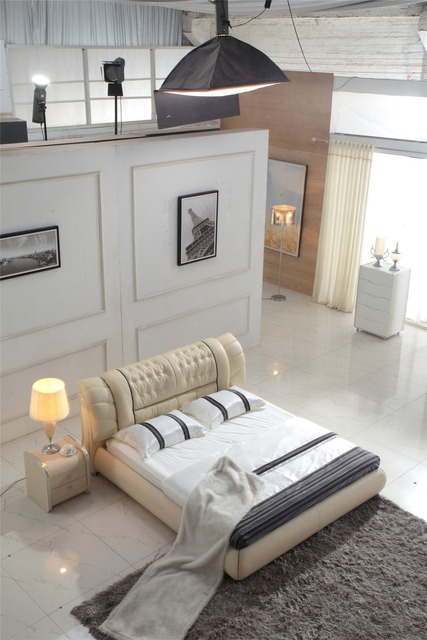Moderne slaapkamer meubels leer zacht bed 805 in Moderne slaapkamer meubels  leer zacht bed 805 van Bedden op AliExpress.com | Alibaba Groep