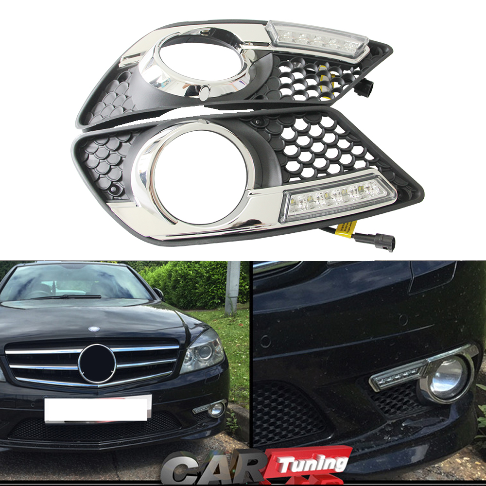 Direct-Fit LED Daytime running Light DRL Fog lamp For Benz W204 C300 C350 08-11 dimming style 12V Led car Light Source z15 dual core wcdma smart wrist watch phone w 1 54 screen bluetooth 4gb rom wi fi gps black