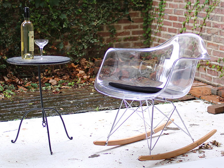 Sedie Di Plastica Trasparenti : Design moderno trasparente di plastica e legno sedia a dondolo